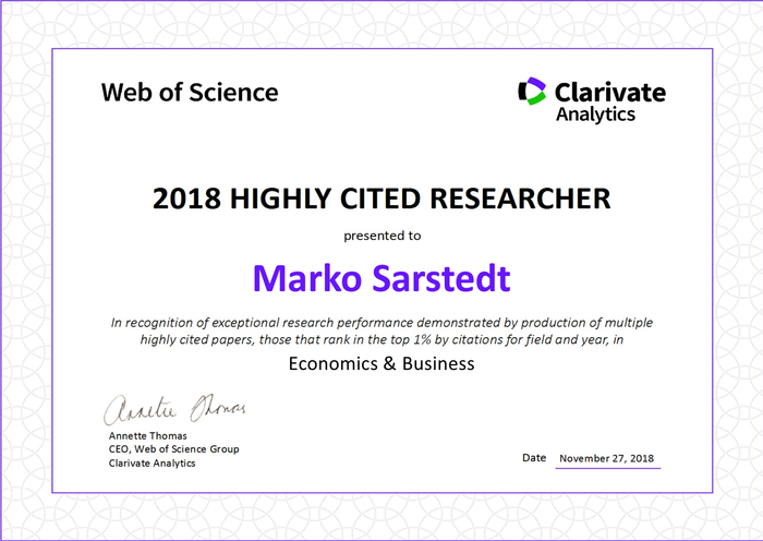 Urkunde Sarstedt Highly Citated Researcher